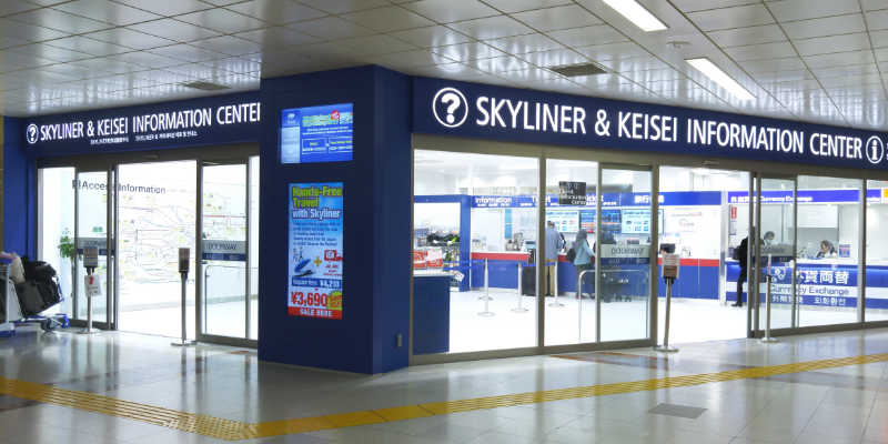 Bureau d'information Skyliner où échanger son e-ticket contre un billet de train