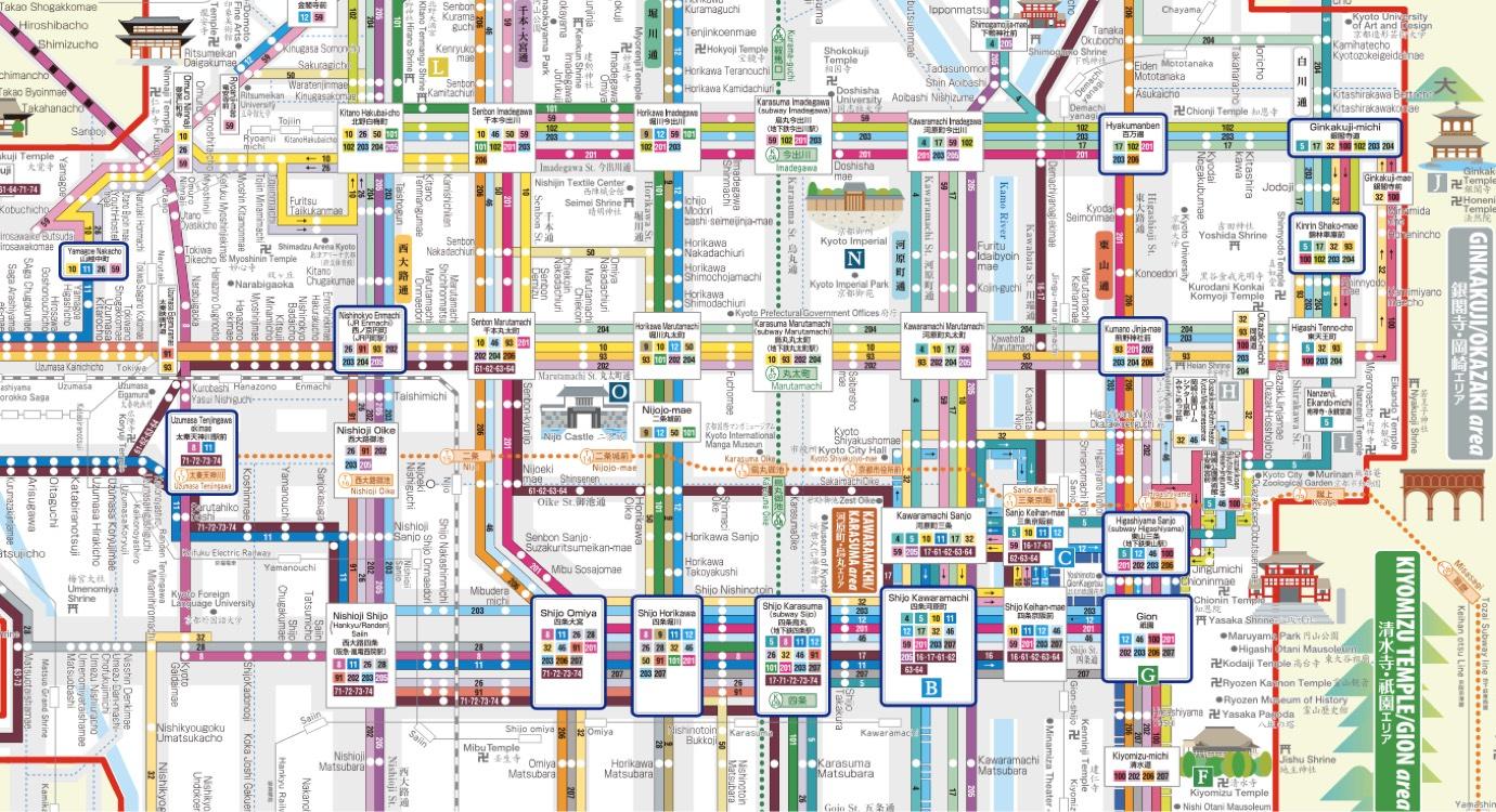 Plan des lignes de bus de Kyoto