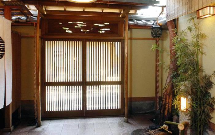 Hall d'entrée du ryokan, le plus élégant de Kyoto