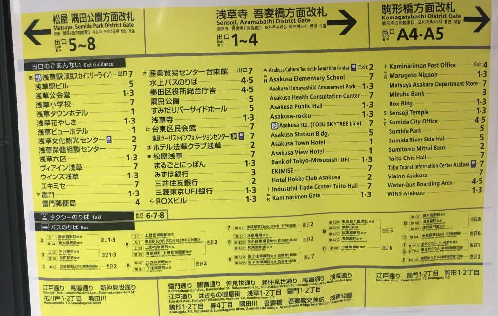 Panneau qui indique la liste des différentes sorties de la station de métro de Asakusa