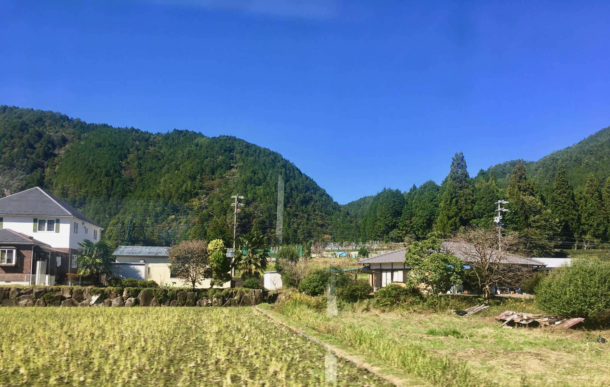 Champs et maisons japonaises le long de la route vers Takayama