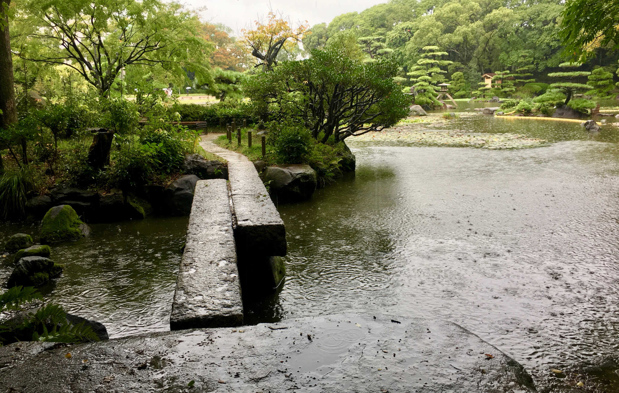 Ce petit pont de pierre dans le jardin Tenno-ji à Osaka invite à la balade