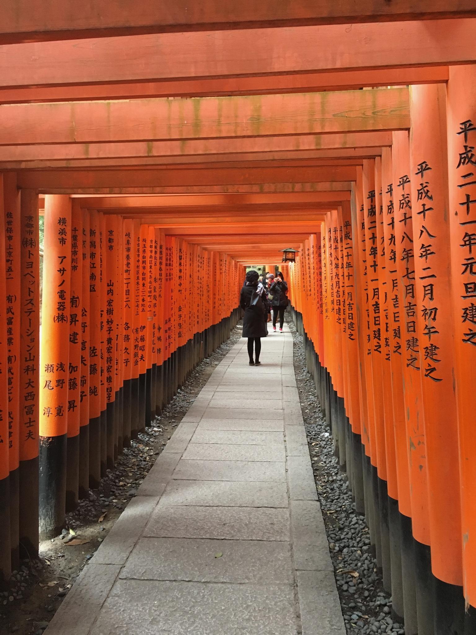 Chaque torii est gravé avec le nom du donateur