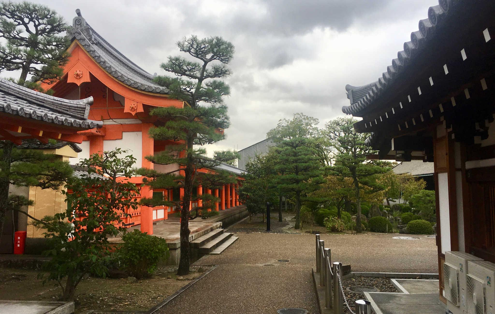 Dans l'enceinte du temple, plusieurs bâtiments et de nombreux pins