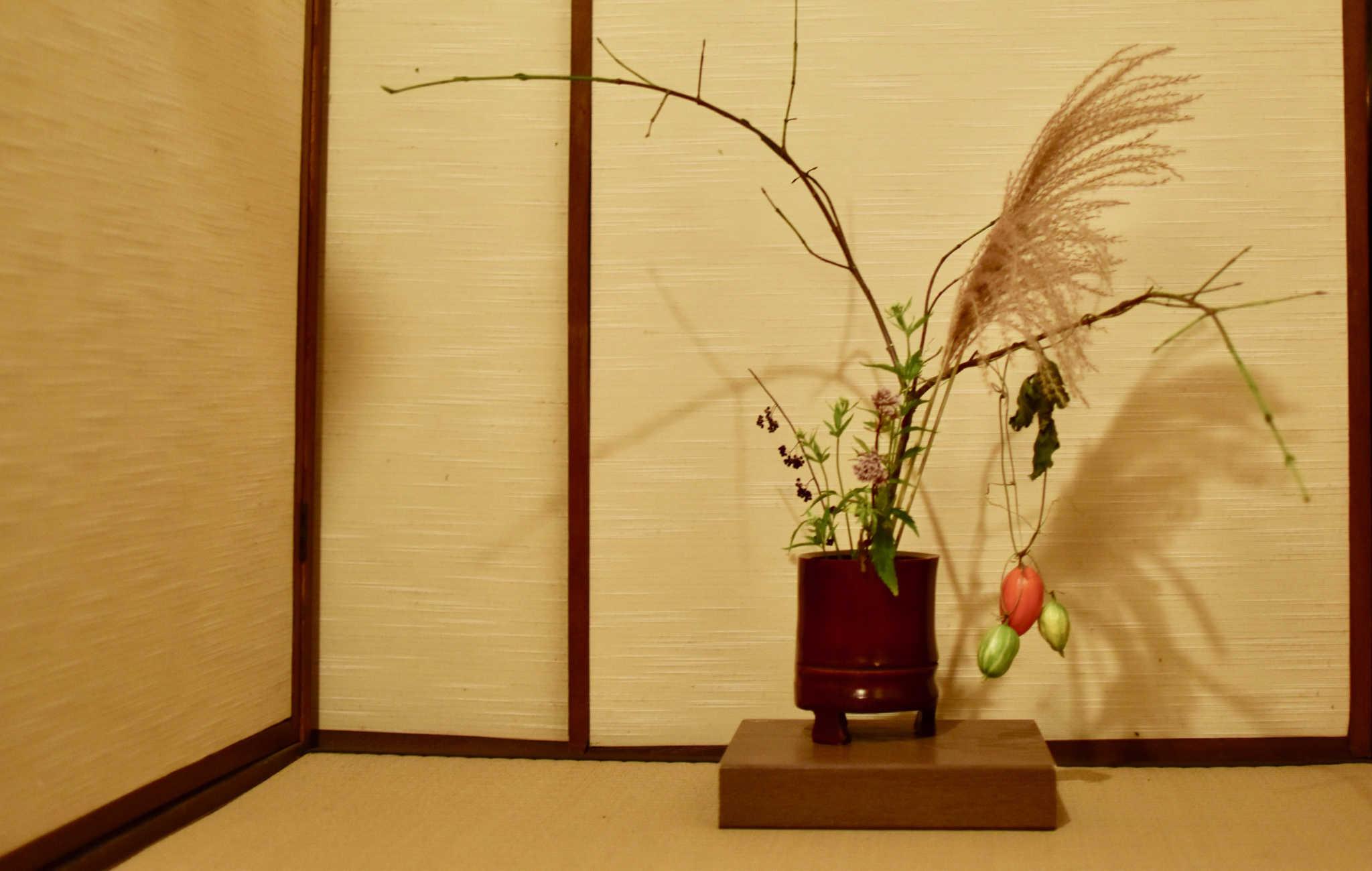 Composition d'ikebana dans un tokonoma