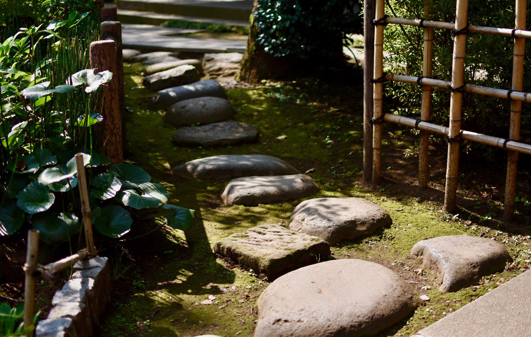 Des pas japonais formés à patir de grosses pierres marquent le passage